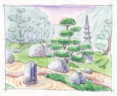 как нарисовать японский сад