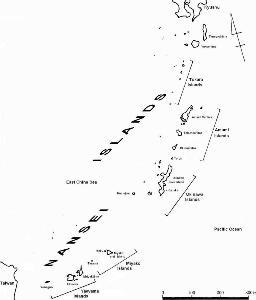 Oстрова Нансэй; состоят из островов Сацунан (архипелаги Осуми, Токара, Амами) и островов Рюкю (архипелаги Окинава, Мияко, Яэяма). (Авторские права: Е. Бакшеев).